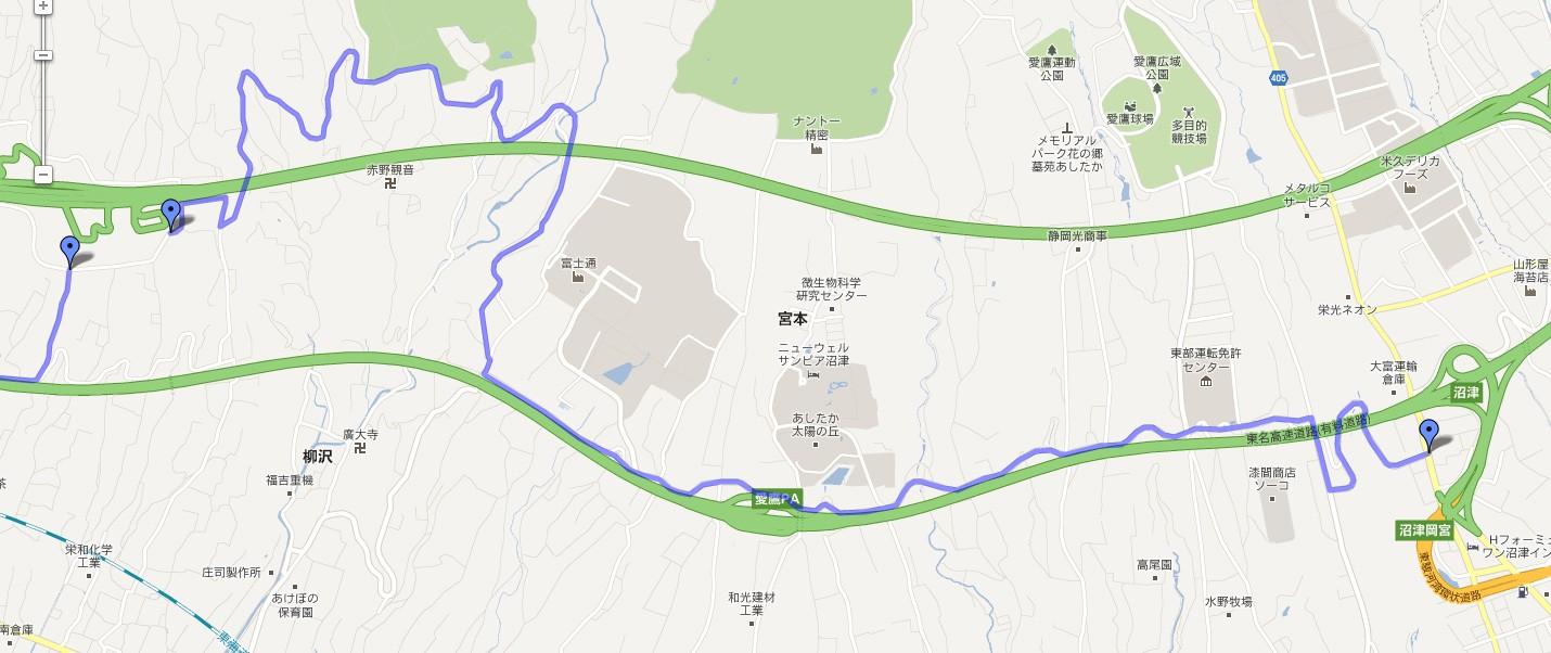 【地図】新東名の駿河湾沼津SAに一般道から行く方法